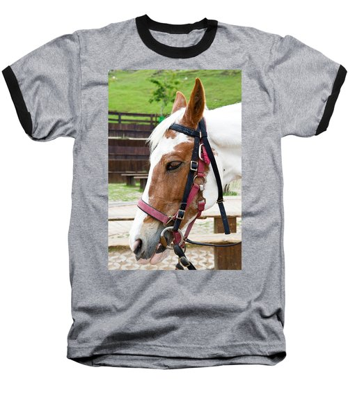 Baseball T-Shirt featuring the photograph Closeup Of Horse by Yew Kwang