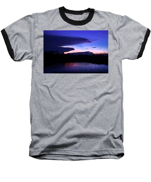 Baseball T-Shirt featuring the photograph Clouded Sunset Over The Tomoka by DigiArt Diaries by Vicky B Fuller