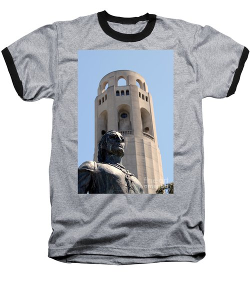 Coit Tower Statue Columbus Baseball T-Shirt