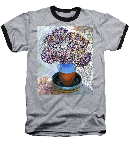 Colorful Impression Of Purple Flowers In Blue Brown Ceramic Vase Yellow Plate With Green Branches  Baseball T-Shirt by Rachel Hershkovitz
