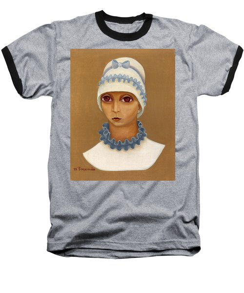 Colorful Young Woman Brown Eyes Blue White Hat Collar  With Ribbon Small Lips Baseball T-Shirt by Rachel Hershkovitz