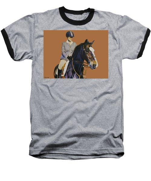 Concentration - Hunter Jumper Horse And Rider Baseball T-Shirt by Patricia Barmatz