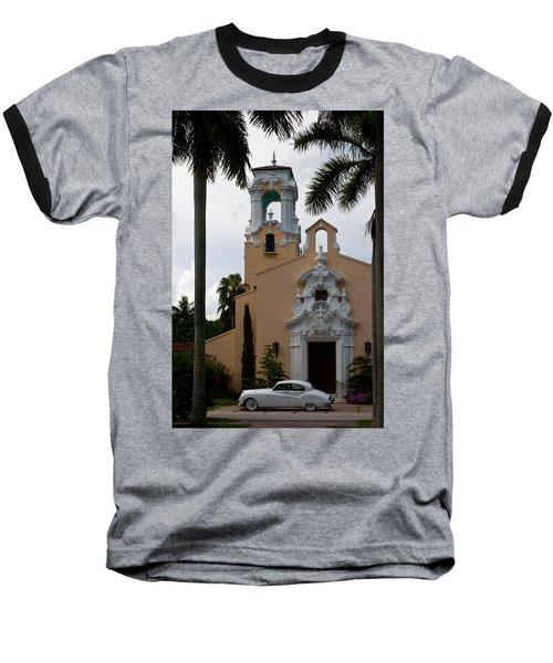 Baseball T-Shirt featuring the photograph Congregational Church Front Door by Ed Gleichman