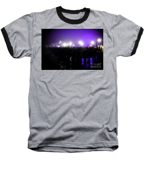 Baseball T-Shirt featuring the photograph Cool Night At Santa Monica Pier by Clayton Bruster