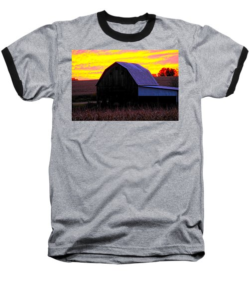 Baseball T-Shirt featuring the photograph Cornfield Barn Sky by Randall Branham