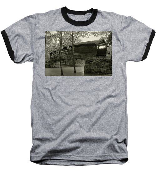 Baseball T-Shirt featuring the photograph Covered Bridge by Mary Almond