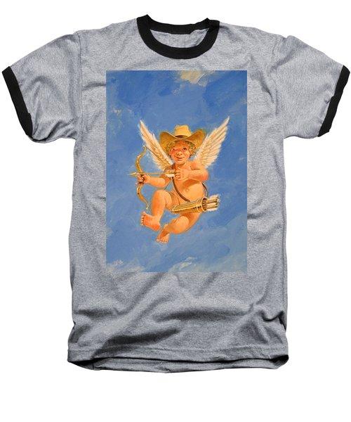 Cow Kid Cupid Baseball T-Shirt by Cliff Spohn