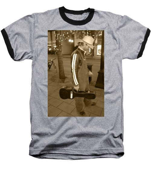 Cowboy Musician On Streets Baseball T-Shirt by Kym Backland