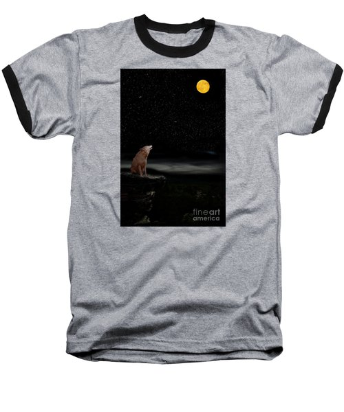 Baseball T-Shirt featuring the photograph Coyote Howling At Moon by Dan Friend