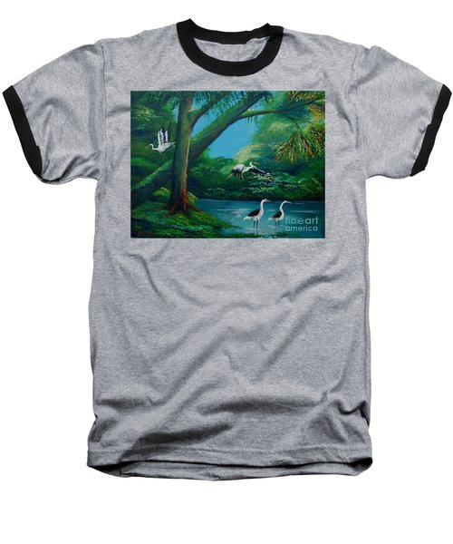 Cranes On The Swamp Baseball T-Shirt