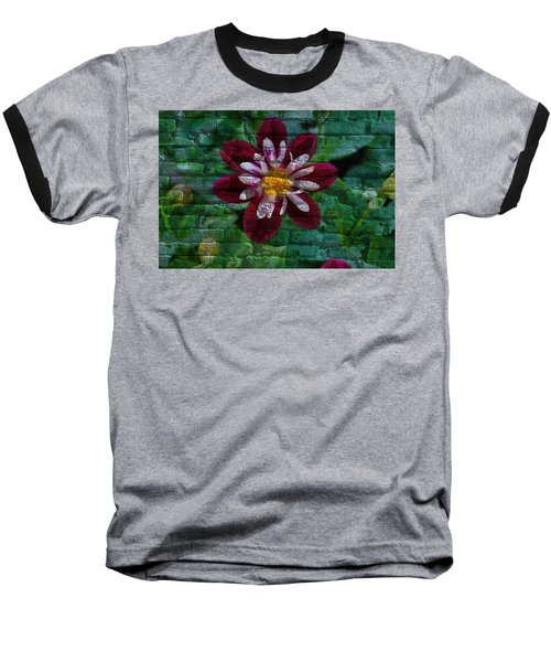 Crazy Flower Over Brick Baseball T-Shirt