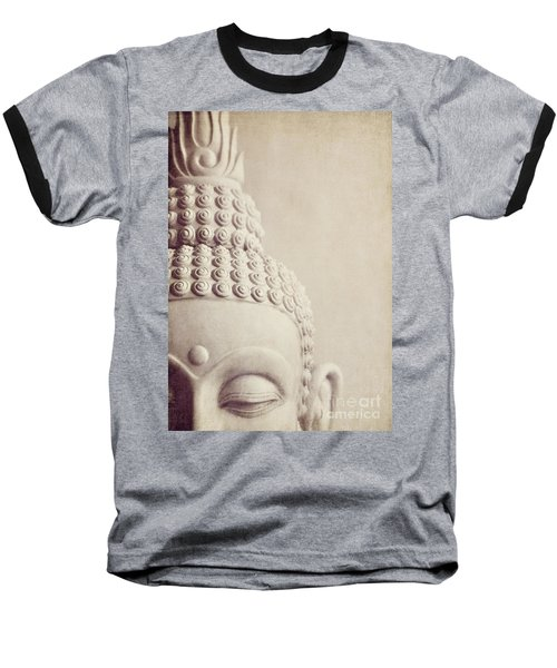 Cropped Stone Buddha Head Statue Baseball T-Shirt by Lyn Randle