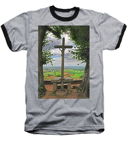 Baseball T-Shirt featuring the photograph Crucifix Overlooking The French Countryside by Dave Mills