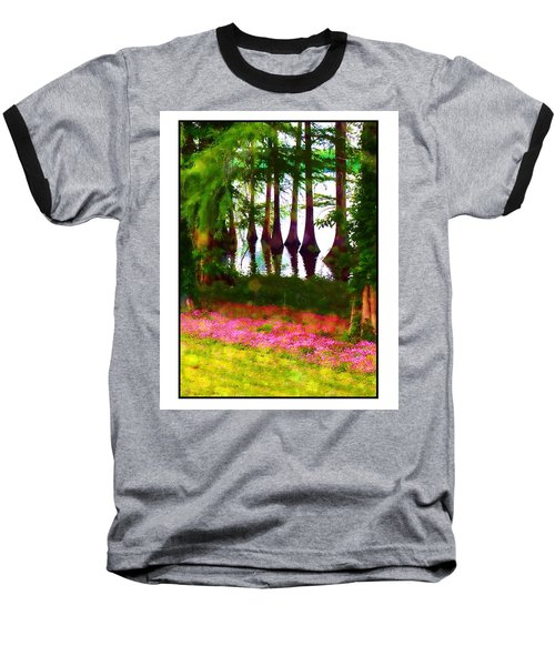 Cypress With Oxalis Baseball T-Shirt by Judi Bagwell
