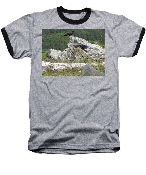 Dandelion Crow - On Oregon Coast Driftwood  Baseball T-Shirt by Cliff Spohn