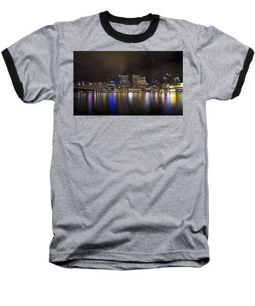 Darling Harbor Sydney Skyline Baseball T-Shirt by Douglas Barnard