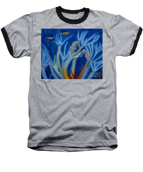Baseball T-Shirt featuring the painting Date Night On The Reef by Julie Brugh Riffey