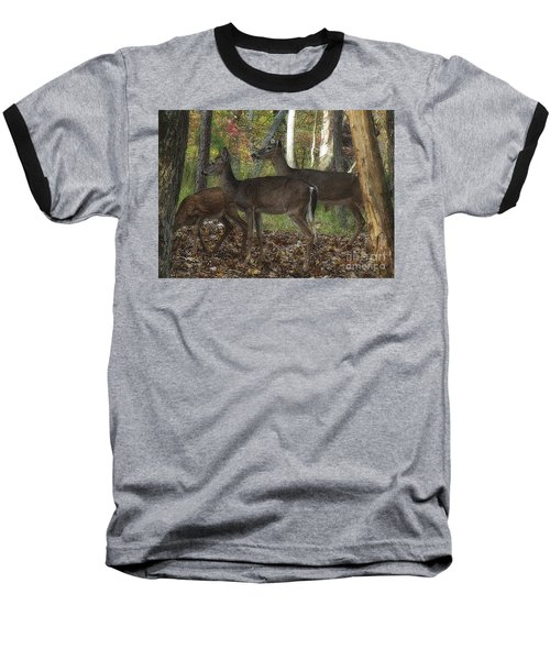 Baseball T-Shirt featuring the photograph Deer In Forest by Lydia Holly