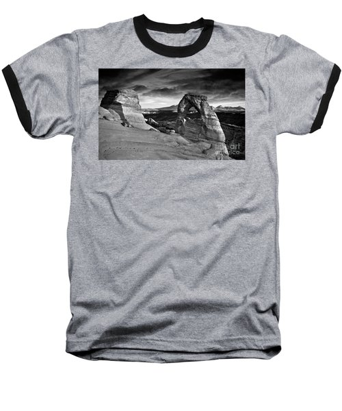 Delicate Arch Bw Baseball T-Shirt by Larry Carr