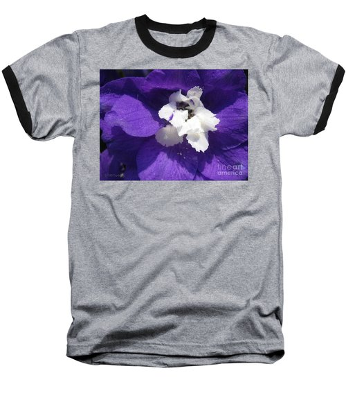 Baseball T-Shirt featuring the photograph Delphinium Named Blue With White Bee by J McCombie