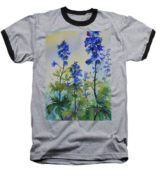 Delphiniums Baseball T-Shirt by Ruth Kamenev