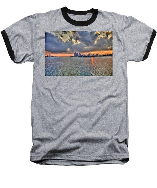Detroit Sunset  Baseball T-Shirt
