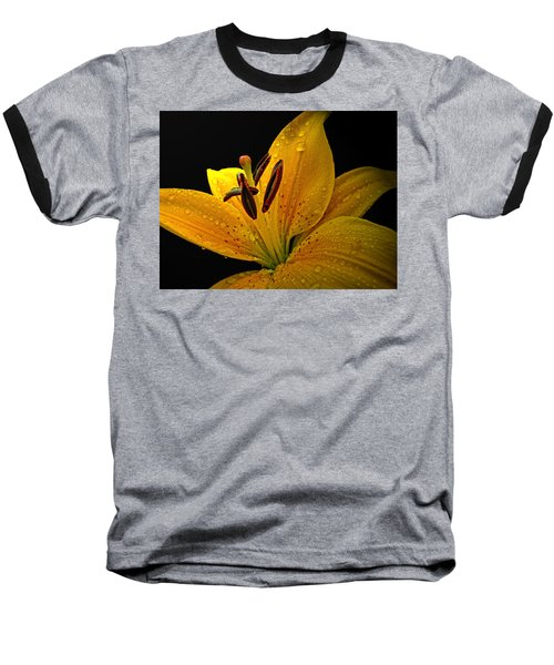 Baseball T-Shirt featuring the photograph Dew On The Daylily by Debbie Portwood