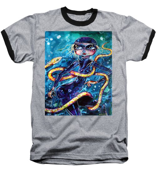 Diving With Serpent Baseball T-Shirt by Leanne Wilkes