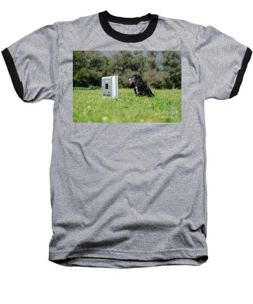 Dog Watching Tv Baseball T-Shirt