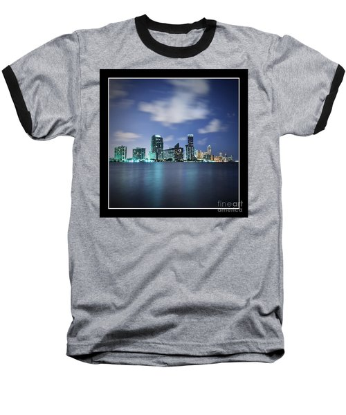 Baseball T-Shirt featuring the photograph Downtown Miami At Night by Carsten Reisinger
