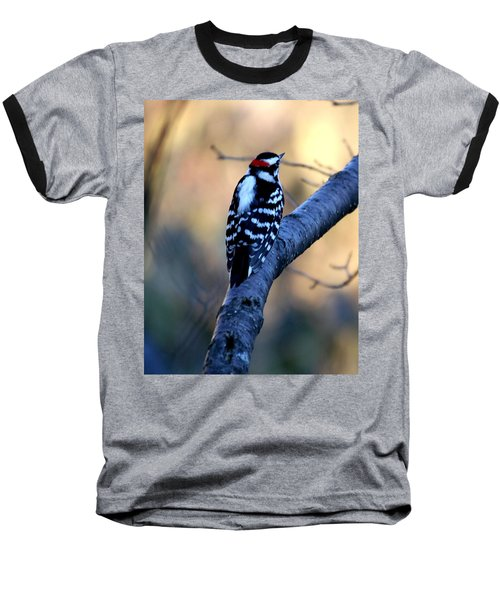 Baseball T-Shirt featuring the photograph Downy Woodpecker by Elizabeth Winter