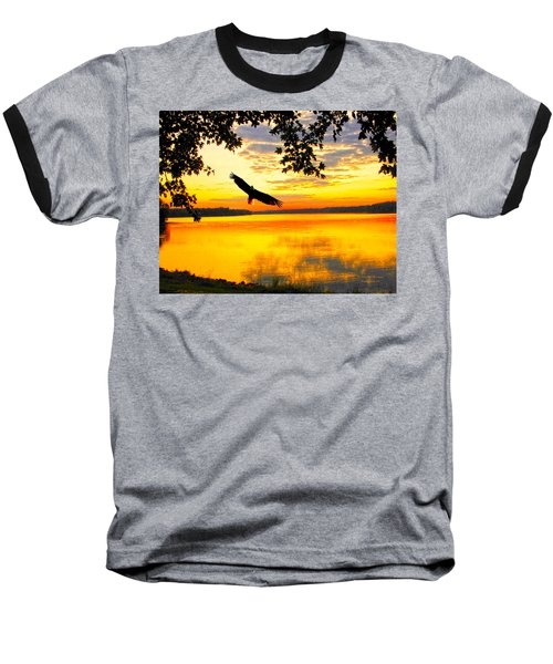 Baseball T-Shirt featuring the photograph Eagle At Sunset by Randall Branham