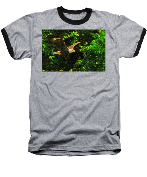 Baseball T-Shirt featuring the photograph Eagle Taking Lunch To Her Babies by Randall Branham