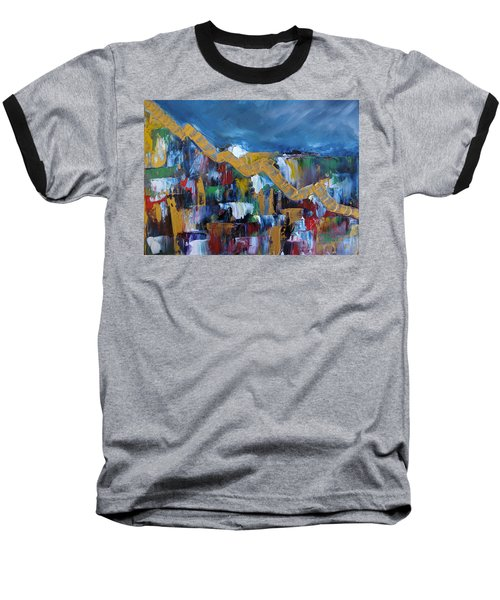 Baseball T-Shirt featuring the painting Economic Meltdown by Judith Rhue