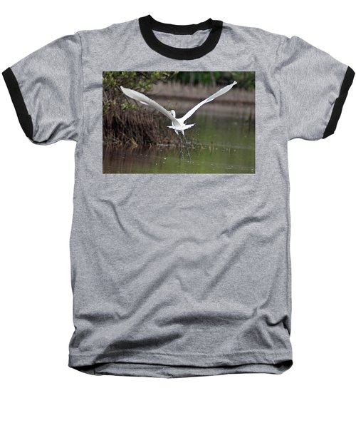 Egret In Flight Baseball T-Shirt by Joe Faherty