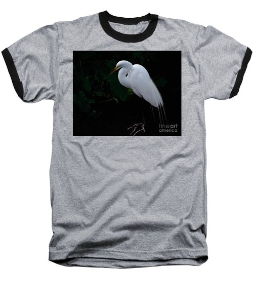 Baseball T-Shirt featuring the photograph Egret On A Branch by Art Whitton