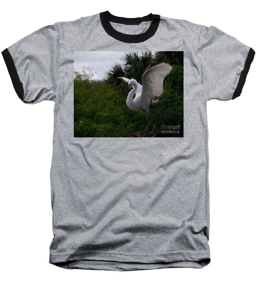 Baseball T-Shirt featuring the photograph Egret Wings by Art Whitton