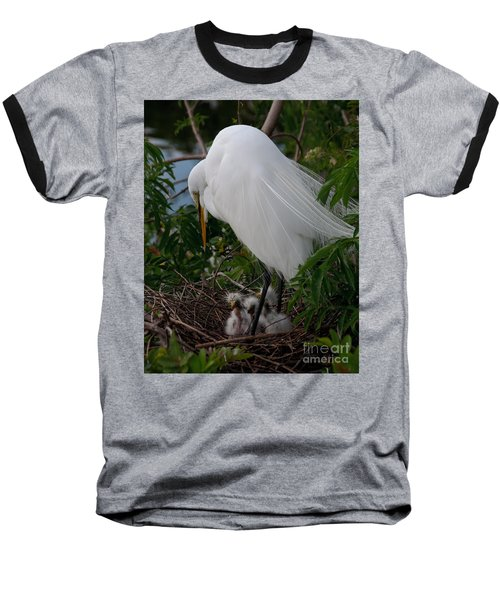 Baseball T-Shirt featuring the photograph Egret With Chicks by Art Whitton