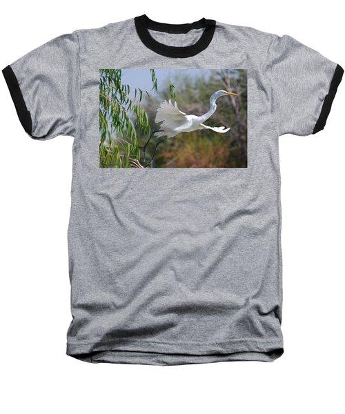 Baseball T-Shirt featuring the photograph Egret's Flight by Tam Ryan