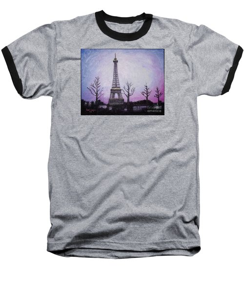 Eiffel At Night Baseball T-Shirt