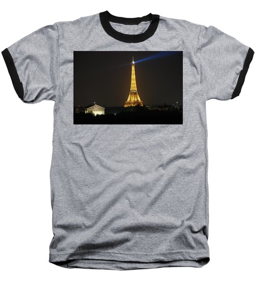Baseball T-Shirt featuring the photograph Eiffel Tower At Night by Jennifer Ancker