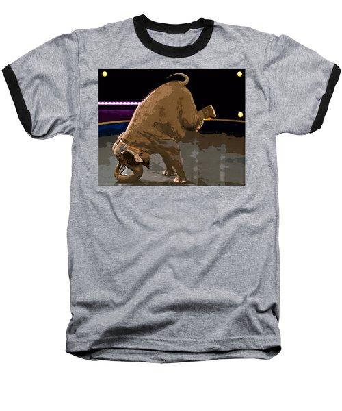 Baseball T-Shirt featuring the photograph Elephant Perfomance At Circus by Susan Leggett