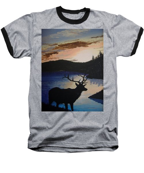 Baseball T-Shirt featuring the painting Elk At Sunset by Norm Starks