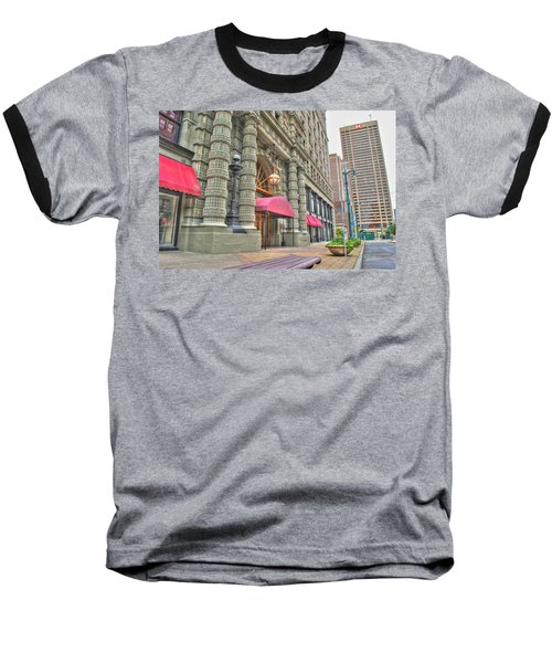 Baseball T-Shirt featuring the photograph Ellicott Square Building And Hsbc by Michael Frank Jr
