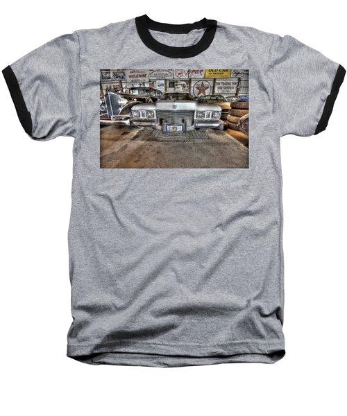 Elvis' Cadillac Baseball T-Shirt by Nicholas  Grunas
