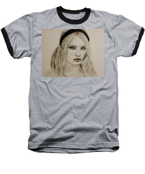 Baseball T-Shirt featuring the drawing Emily by Michael Cross
