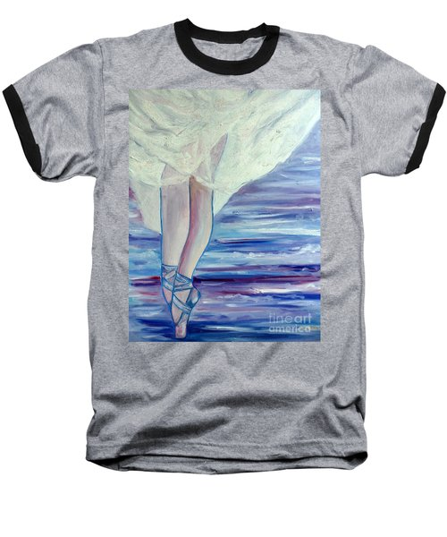 Baseball T-Shirt featuring the painting En Pointe by Julie Brugh Riffey