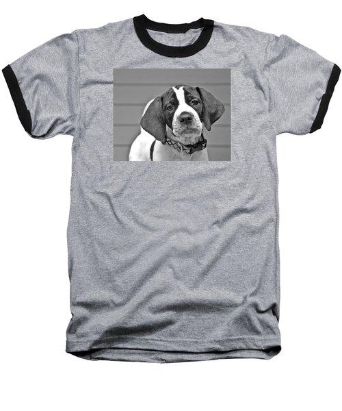 English Pointer Puppy Black And White Baseball T-Shirt