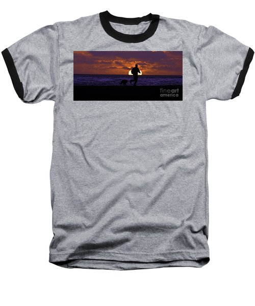 Baseball T-Shirt featuring the photograph Evening Run On The Beach by Clayton Bruster