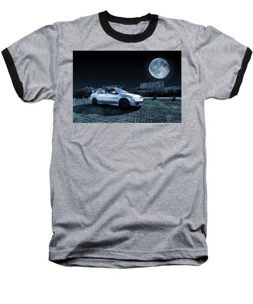 Baseball T-Shirt featuring the photograph Evo 7 At Night by Steve Purnell